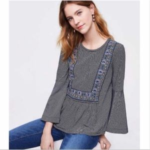 LOFT Striped Embroidered Bell Sleeve Cotton Tee